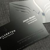 Mortgage company Black metal business Cards -thumb