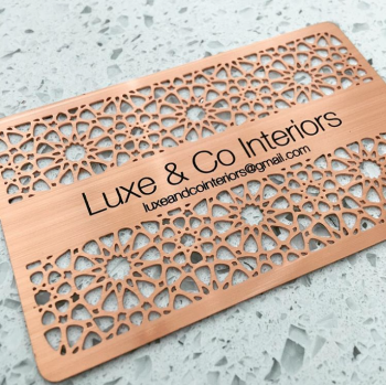 Cutout Pattern Copper Business Cards Metal