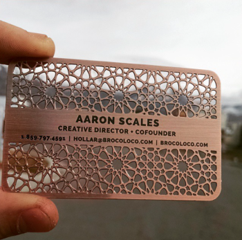 Copper Metal Business Cards Cut Out