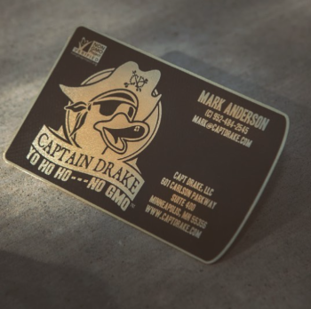 Lucky Duck Black Gold Metal Business Card