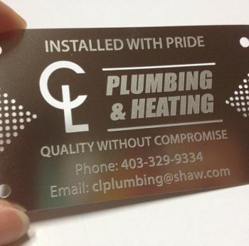 Plumbing Metal Business Cards