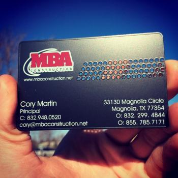 Laser Cut Black Metal Business Cards