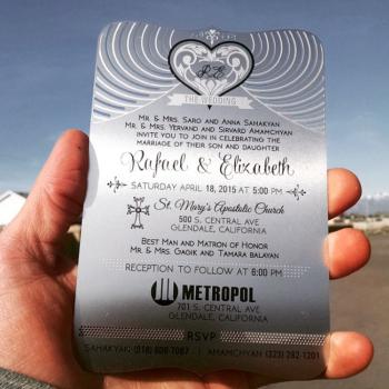 Silver Metal Invitation Cards