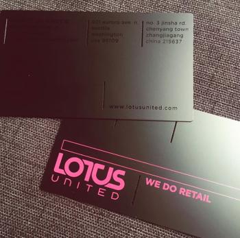 Purple Printed Black Metal Cards