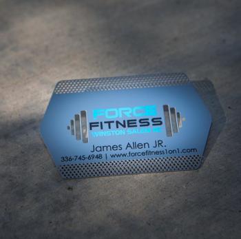 Personal Trainer Custom Shape Metal Business Card