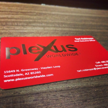 Semi Gloss Red Metal Business Cards