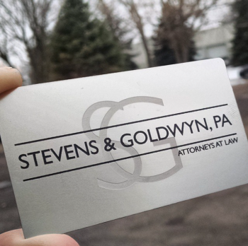 Attorney Silver Metal Business Cards