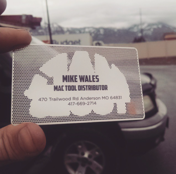 Backside Metal cut out Mac Tool Business Card